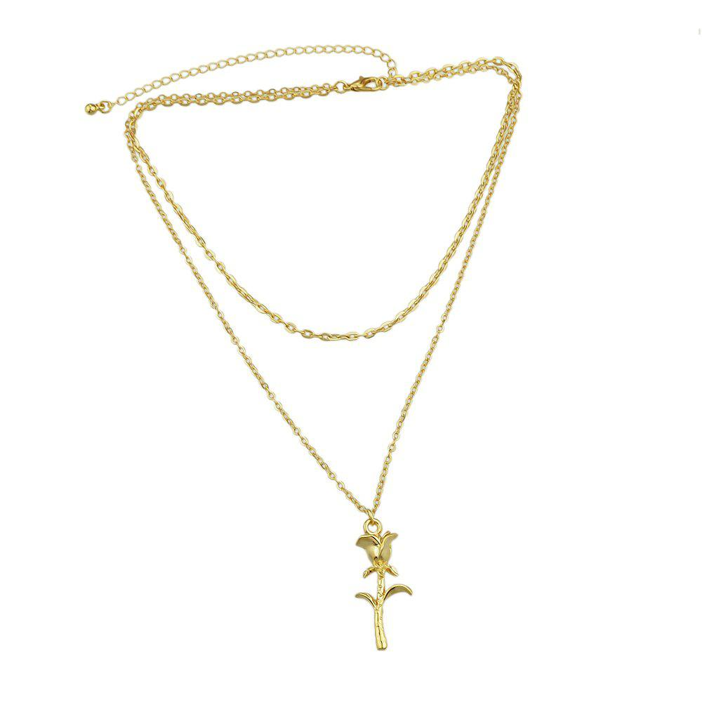 Фото Gold Silver Color Chain With Flower Pendant Necklace