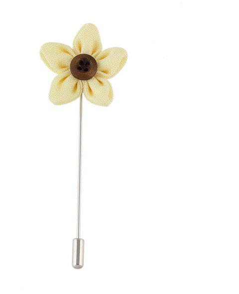 Colorful Fabric Flower Brooch Pins - YELLOW