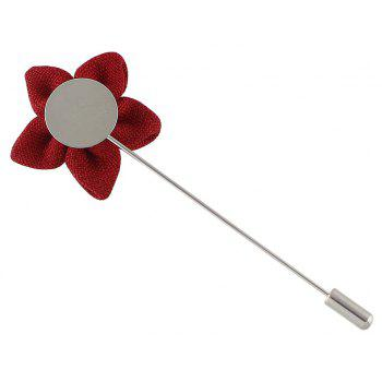 Colorful Fabric Flower Brooch Pins - RED