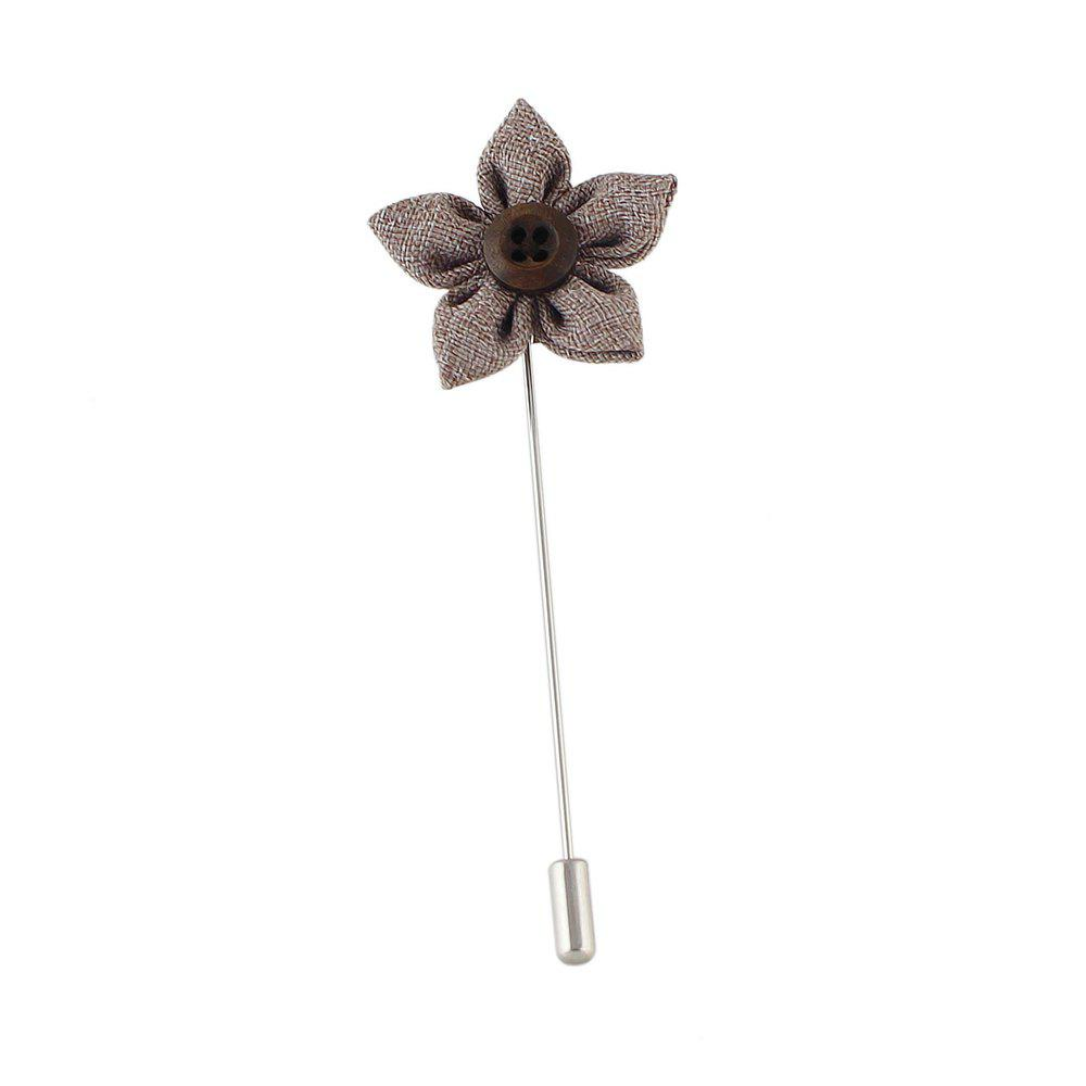 Colorful Fabric Flower Brooch Pins - GRAY