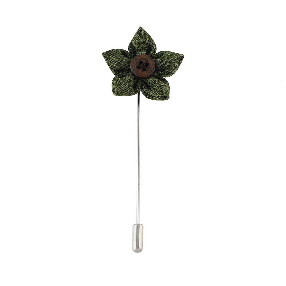 Colorful Fabric Flower Brooch Pins - GREEN