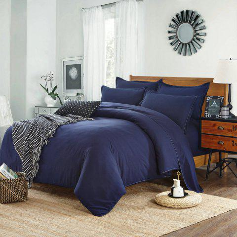 Simple Pure Color Aloe Cotton Bedding Set 4PCS - BLUE EURO KING
