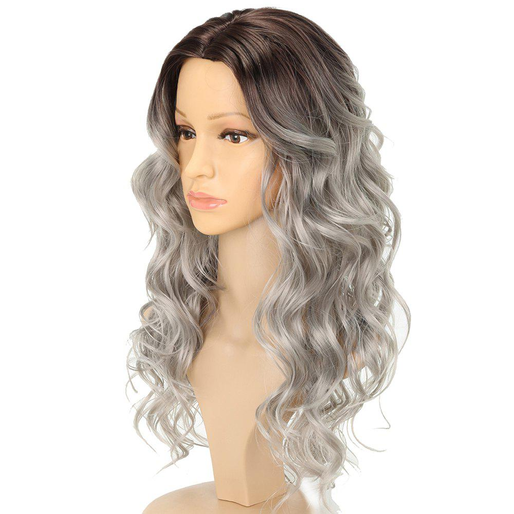 Bouncy Wavy Silver Gray Black Ombre Fluffy Synthetic Wigs Long Hair for Girls fashion natural wavy ombre silver grey body wave synthetic lace front wig long black gray wigs heat resistant for black women