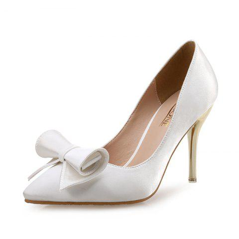 VICONE Women Spring Office Pointed Toe Butterfly-knot Sweet High Heels - WHITE 39