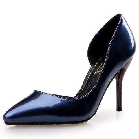 VICONE Women Summer Pointed Toe Office Concise Fashion High Heels - BLUE 34