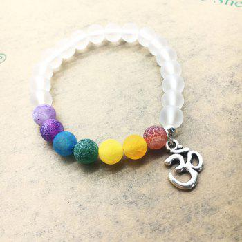 Colorful Weathered Agate Beads Fashion 3D Yoga Matte Transparent Energy Bracelet - TRANSPARENT 18CM