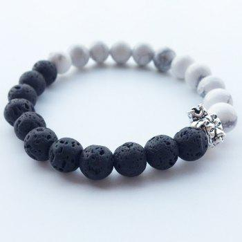 Trendy Black and White Crown Lion's Head and Buddha Beaded Bracelet - WHITE 18CM