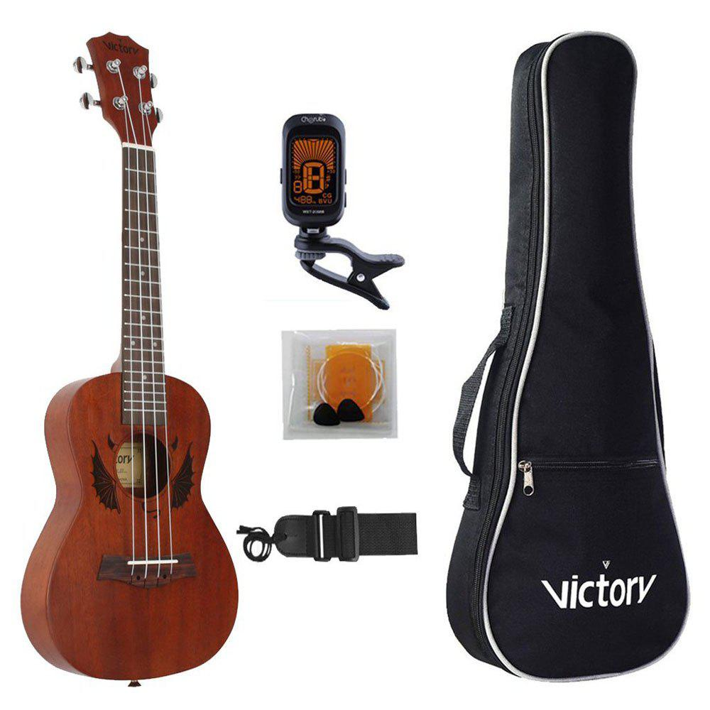 Concert Ukulele 23 Inch Mahogany Aquila Strings Beginner Kit ( Devil )
