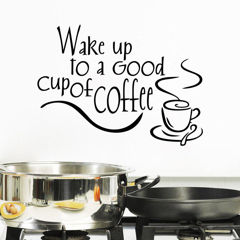 Фото Wake Up To Coffee Wall Sticker Good Morning Wallpaper Living Room Home Decal Art family wall quote removable wall stickers home decal art mural