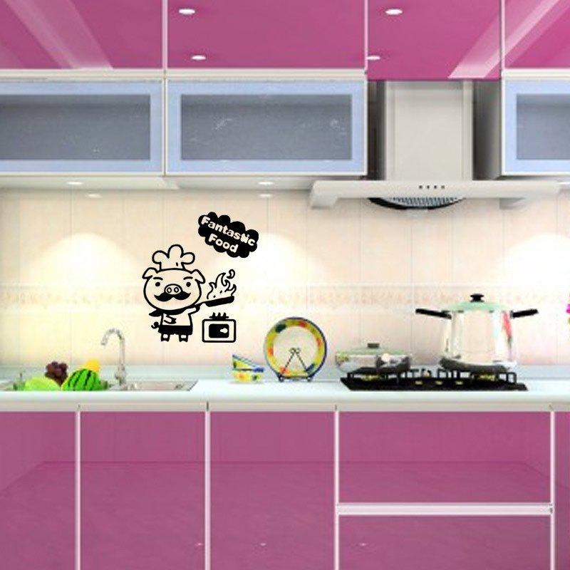 Pig Cook Vinyl Creative Cartoon Animal Wall Sticker Kitchen Funny Home Decor