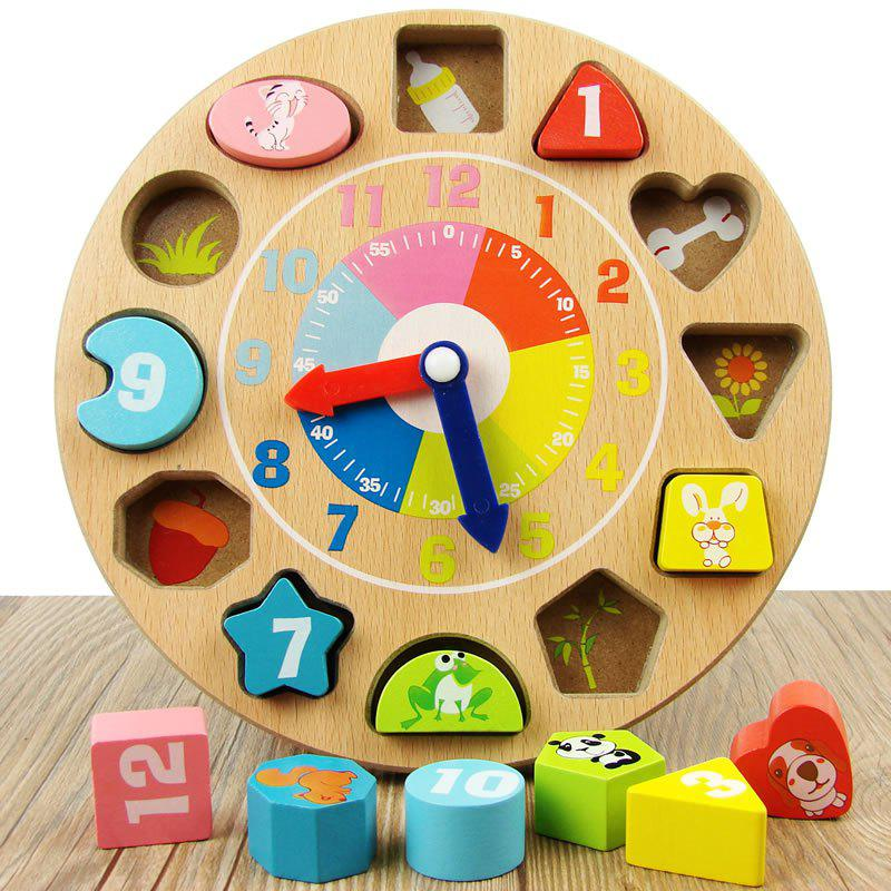 Early Childhood Cartoon Clock Children Digital Geometry Wooden Block new baby toys wooden letter digital card kids early educational wooden card for children gifts models
