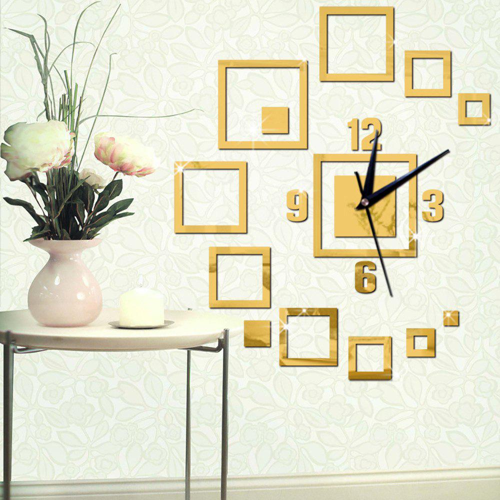 2018 Diy 3D Square Wall Clock Acrylic Stickers Living Room Mordern ...