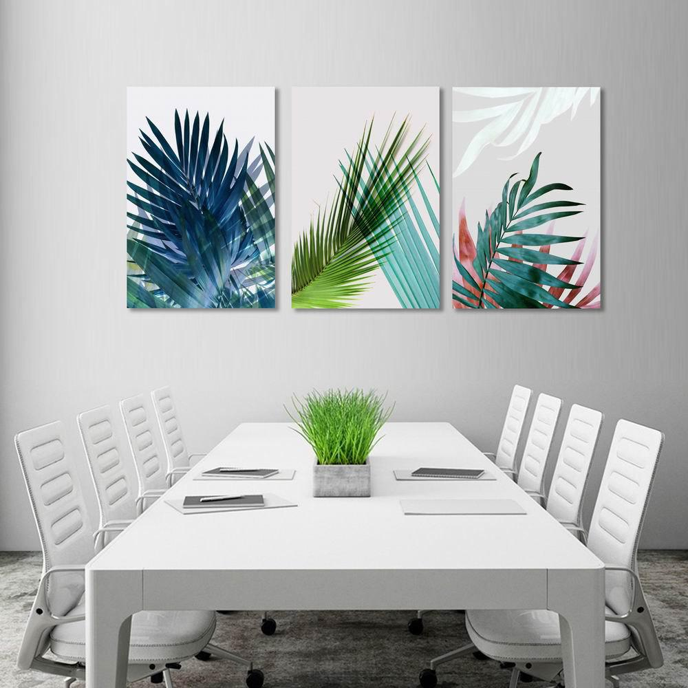 Фото W234 Leaves Unframed Art Wall Canvas Prints for Home Decorations 3 PCS family wall quote removable wall stickers home decal art mural