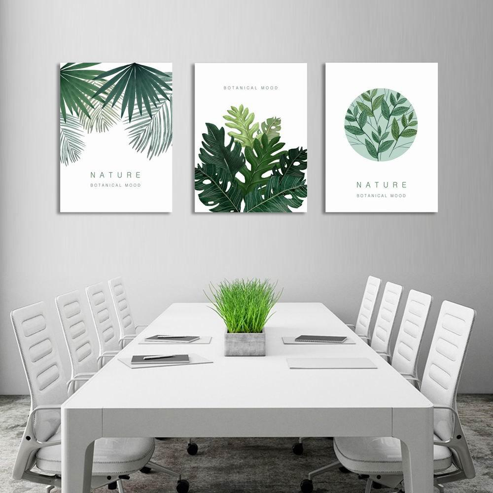 W236 Leaves Unframed Art Wall Canvas Prints for Home Decorations 3 PCS family wall quote removable wall stickers home decal art mural