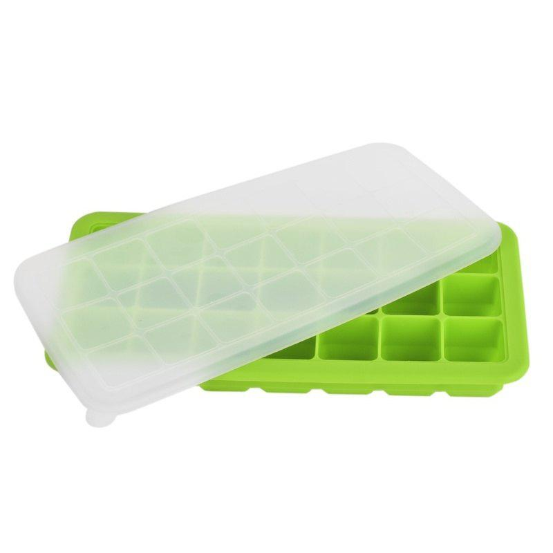 Fresh Baby Food Green Silicone Ice Cubes with Lid - GREEN
