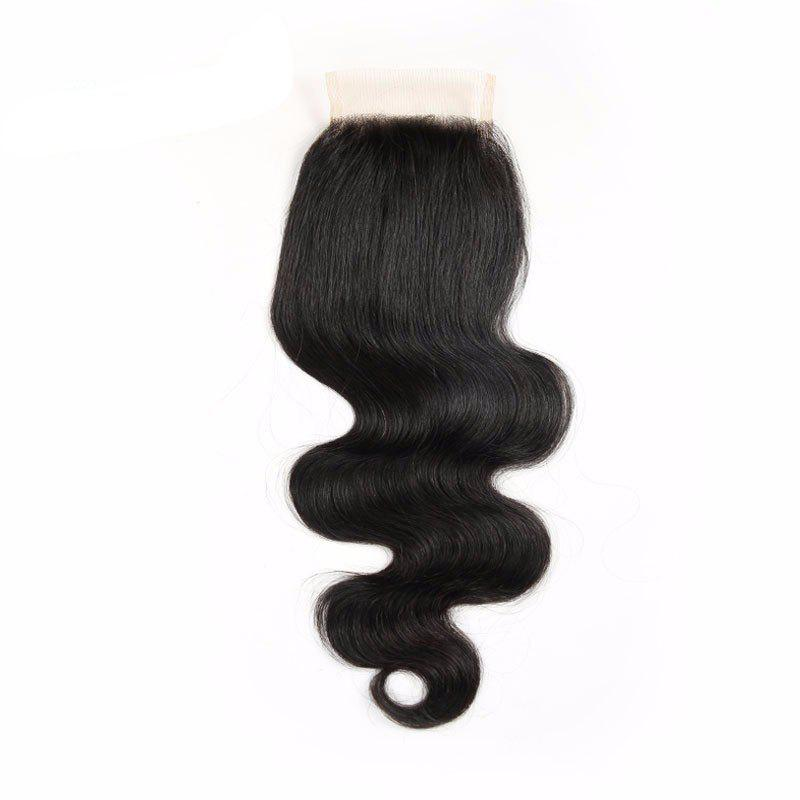 Indian Virgin Human Hair Natural Black Body Wave Swiss Lace Closure - BLACK 16INCH