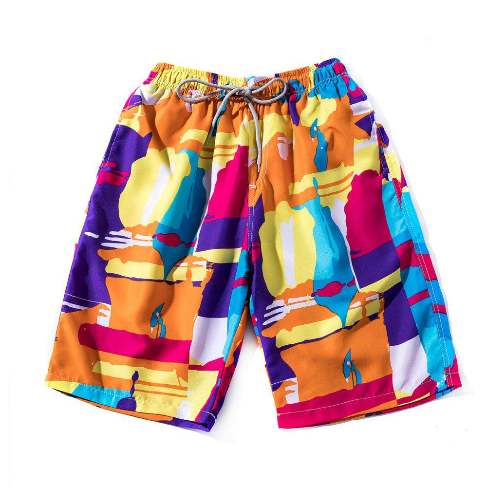 Summer Men's Fast Dry Pants Seaside Holiday Shorts Printed Swimming Beach Pants authentic nike men s summer training running sports pants fast dry shorts