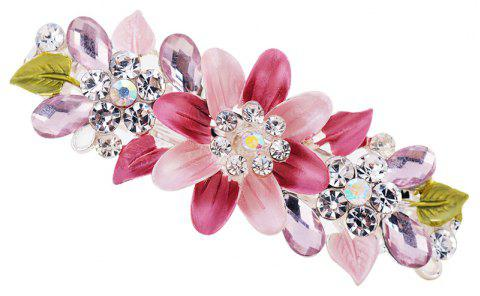Hair Clip Exquisite Crystal Flower Hairpin Enamel Barrettes Girls Hair - PINK