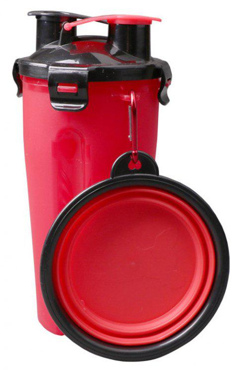 Portable Outdoor Pet 2 in 1 Water Food Mug Offer Foldable Pet Bowl - LOVE RED