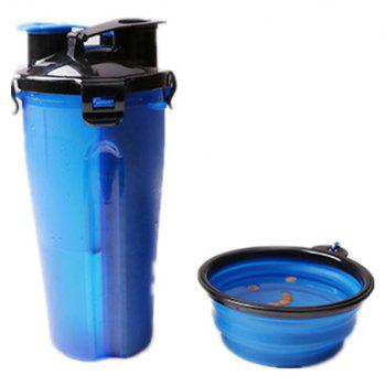 Portable Outdoor Pet 2 in 1 Water Food Mug Offer Foldable Pet Bowl - BLUE ORCHID
