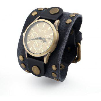 Retro Big Wide Leather Bracelet Men Watch - BLACK
