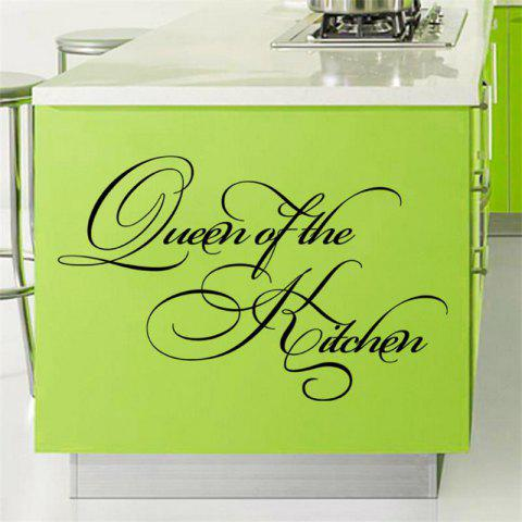 Queen of The Kitchen Wall Sticker Waterproof Decal Quotes Home Decor - BLACK 60X35CM
