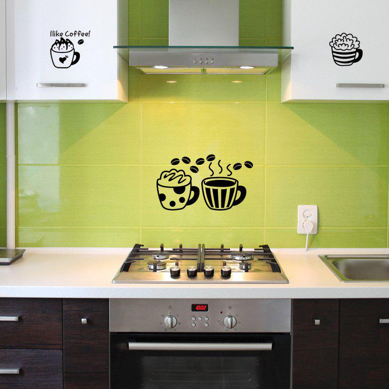 Personalized Kitchen Wall Sticker Waterproof Vinyl I Like Coffee Decoration - BLACK 58X18CM