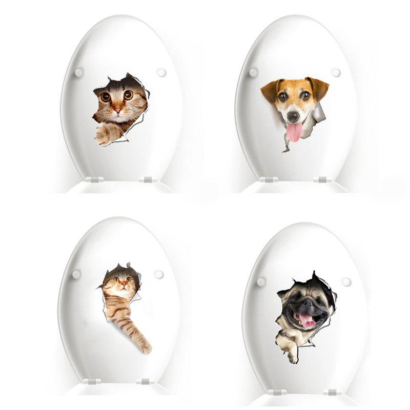 3D Broken Cartoon Pasted Wall Sticker Cat and Dog Waterproof Decoration - multicolor A