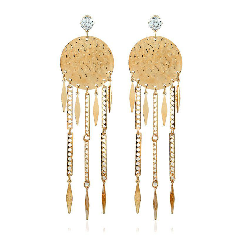 Fashion Geometric Long Metallic Leaf Tassel Earrings faux opal geometric earrings