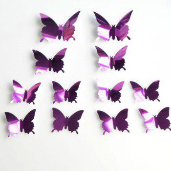 12 pcs 3D DIY Butterfly Mirror Wall Stickers Adhesive  Home Decor - HELIOTROPE PURPLE