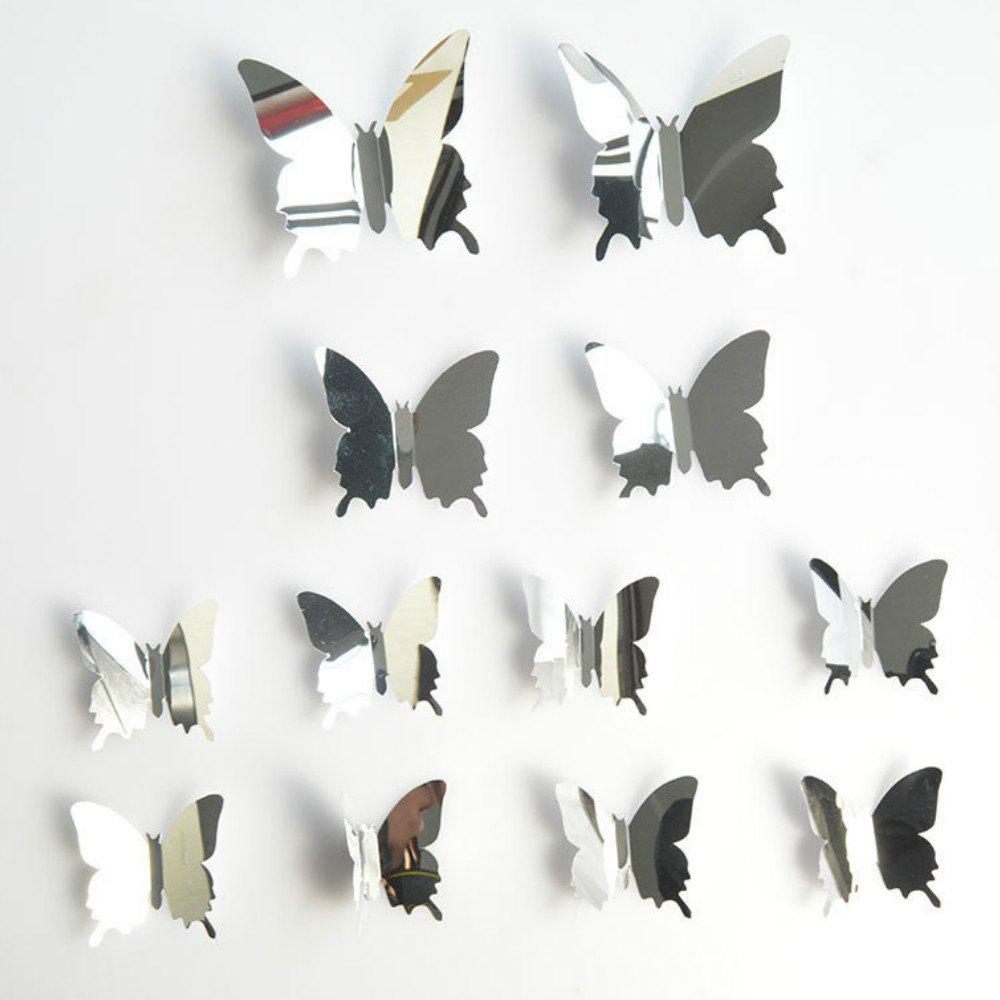 12 pcs 3D DIY Butterfly Mirror Wall Stickers Adhesive Home Decor 120 pcs lot cute rose flower thank you sealing label adhesive kraft baking seal sticker gift stickers students funny diy work