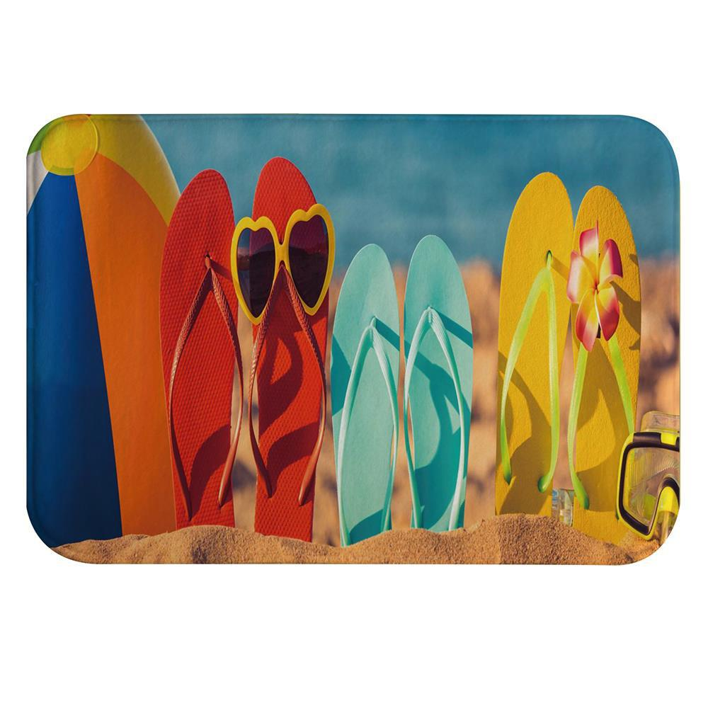 Funny Beach Shoes Super Soft Non-Slip Bath Door Mat Machine Washable funny beach shoes super soft non slip bath door mat machine washable