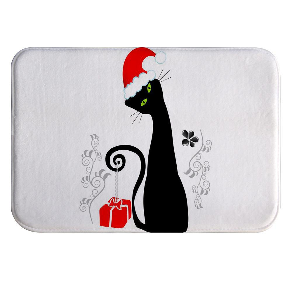Black Cat with Red Hat Super Soft Non-Slip Bath Door Mat Machine Washable cowboy lanterns super soft non slip bath door mat machine washable