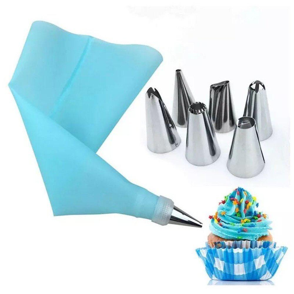 Bake Cake Tool 8 Piece 6 Stainless Steel Decorative Nozzle EVA Mounting Bag 3pcs stainless steel dumpling wrapper maker lace cake egg dough cutter