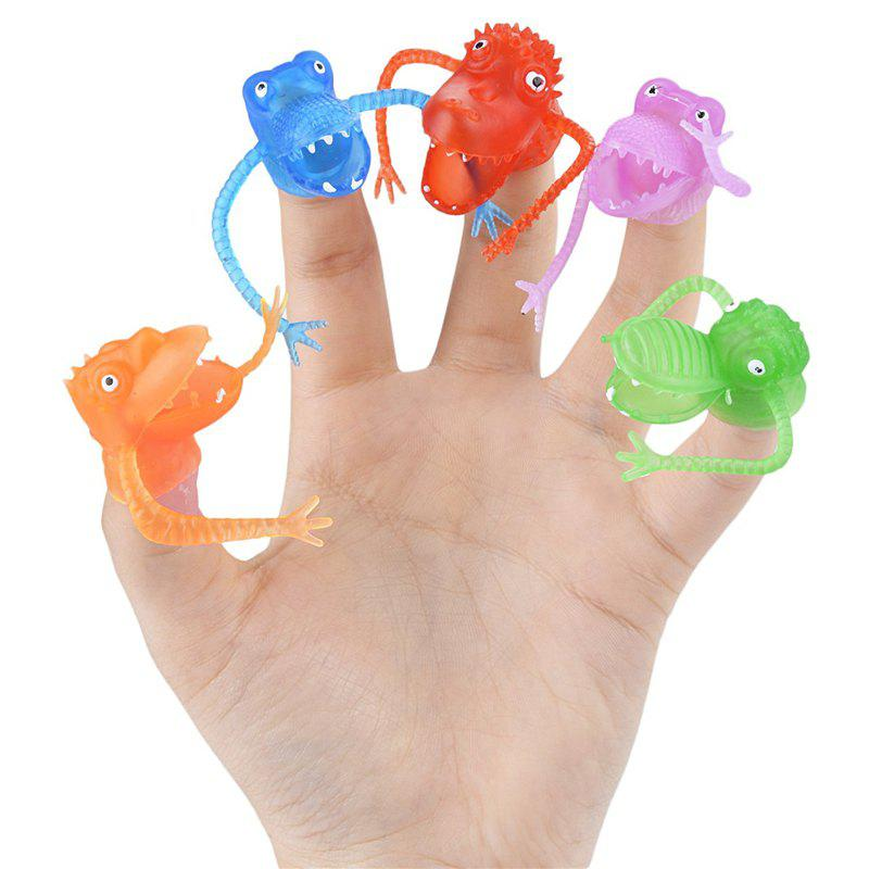 Multi-color Silicone Mini Dinosaur Finger Puppets Toys for Kids Baby Gift 5pcs