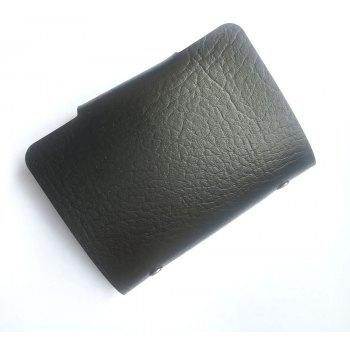 X Pattern Leather Case Sleeve Two-Sided 12 Holders for Bank Credit Card - BLACK