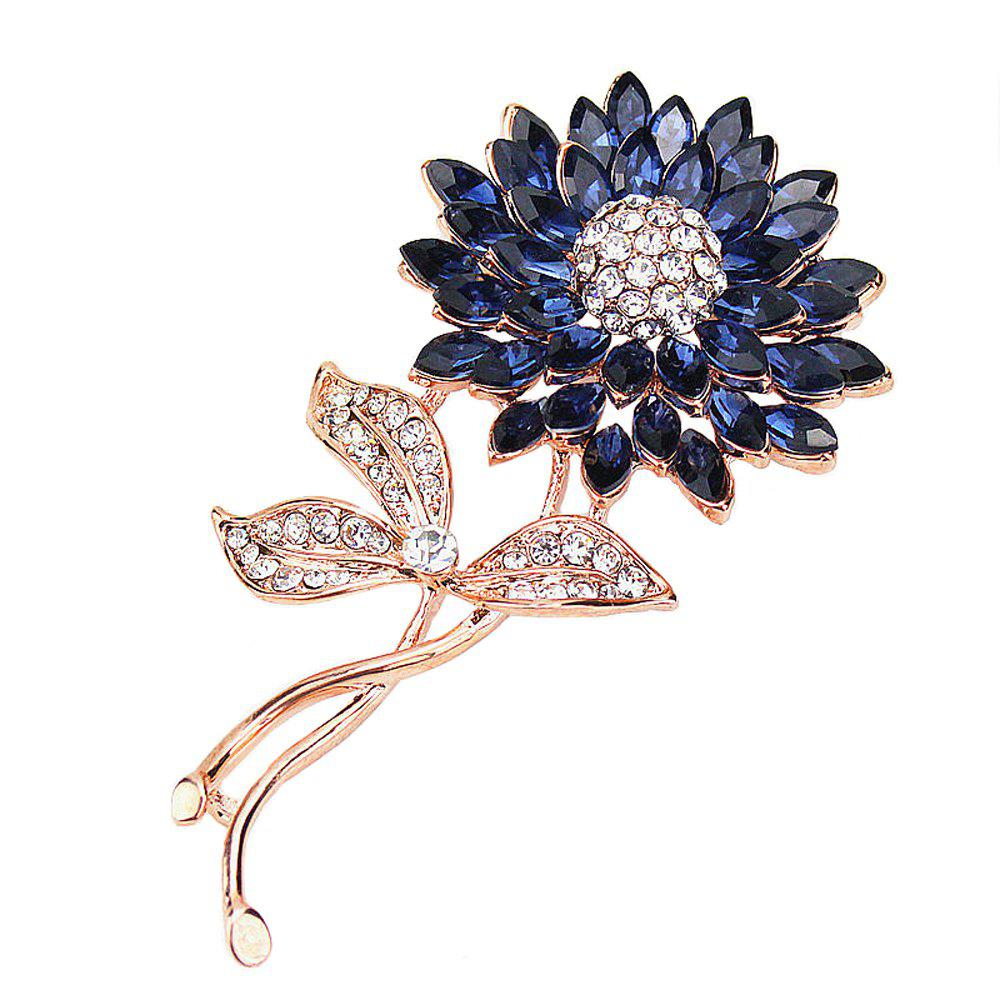 PULATU Women'S Diamond Gemstone Flower Brooch - SAPPHIRE BLUE