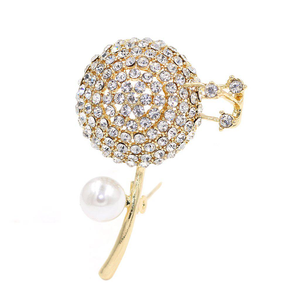 PULATU Diamond Flower Brooch for Women B2L1-4 - GOLDEN BROWN