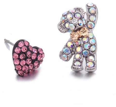 Little Bear Heart Colorful with Crystal  Earrings - PINK
