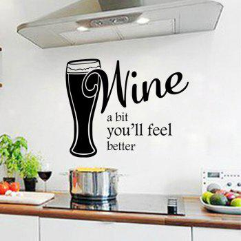 Wine A Bit You'll Feel Better Wall Decal Home Decor Relax Quotes Kitchen Sticker - BLACK 57.5X45CM
