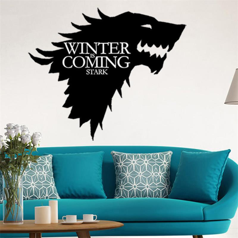 Wolf game of thrones wall stickers decorative head window car vinyl decals black 36x42cm