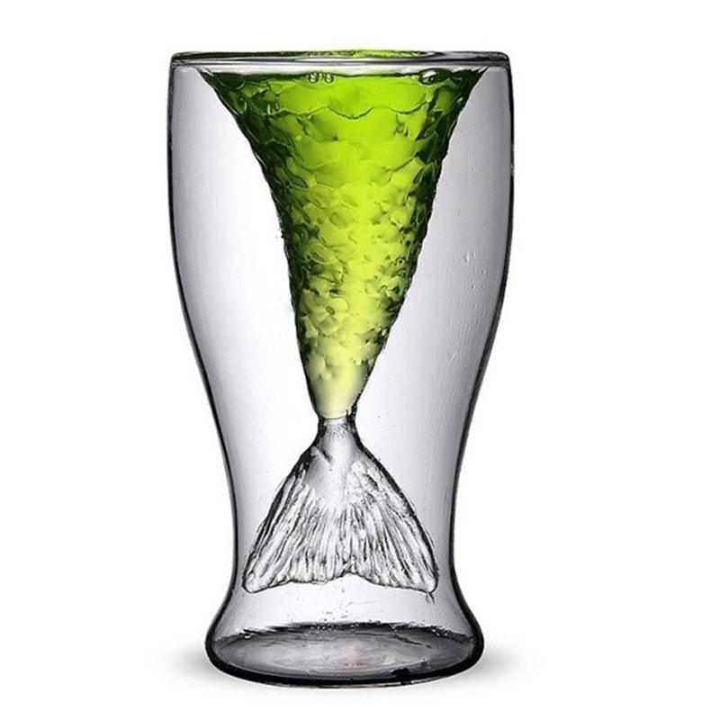 Transparent Creative Mermaid Shape Glass Heat-resistance Cup for Beer and Wine - TRANSPARENT 100ML