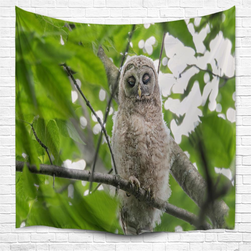 Perching Owl 3D Printing Home Wall Hanging Tapestry for Decoration