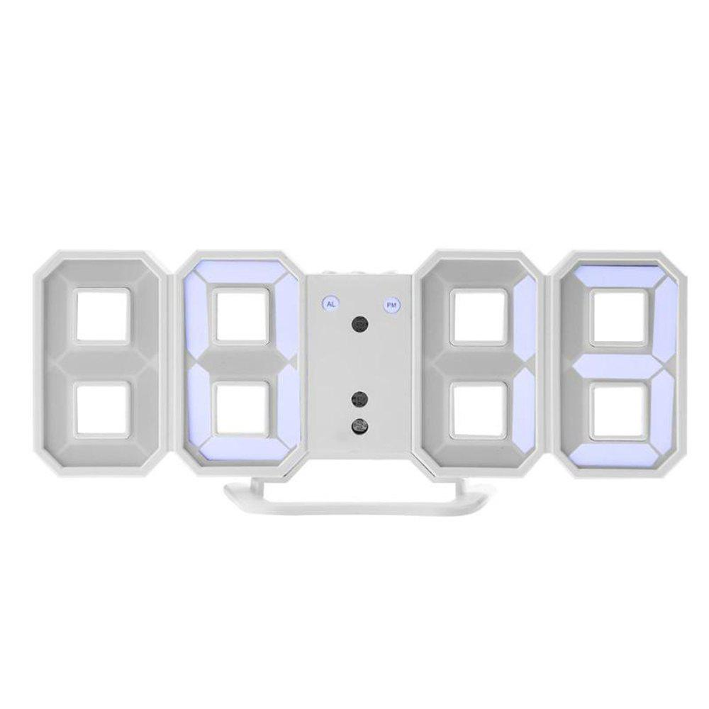 3D Digital Watch LED  24/12 Hour Date Temperature Display Modern Alarm - WHITE