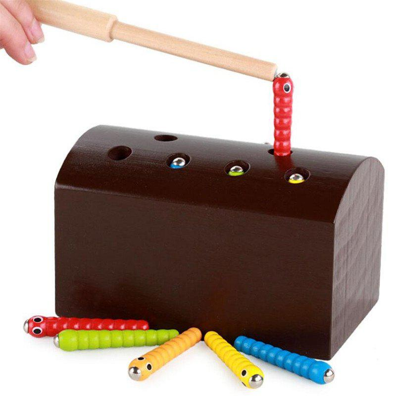Wooden Magnetic Catch Insects Worm Game Children Educational Toys mtele brand 62 pcs pcs magnetic tiles designer construction kids educational toys creative bricks enlighten toy