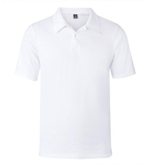 2018 New Casual and Pure Color Polo Shirt - WHITE 2XL