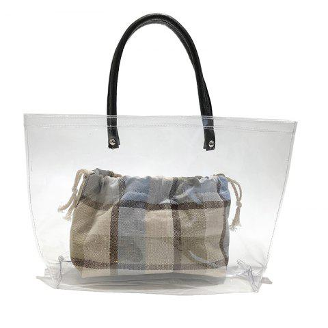 Hot Sale Women Large Capacity Plaid Transparent Jelly Shoulder Bags Totes - BABY BLUE