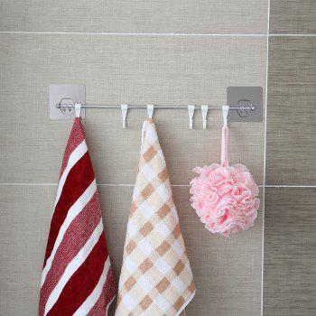 Kitchen and Toilet Strong Seamless Long Rod Six Groups of Free Mobile Hook - SILVER 42X2.5X8.5CM