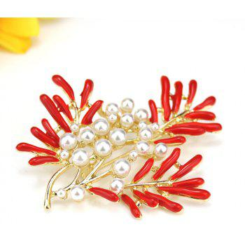 PULATU Simulate-Pearl Coral Flower Brooch for Women B1L4-7 - RED