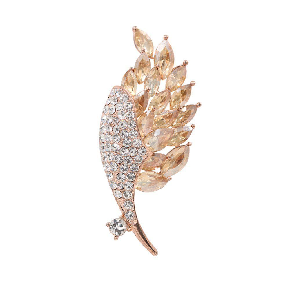 PULATU Lady Diamond Crystal Leaf Brooch XZ-B1L3-10 - GOLDEN BROWN